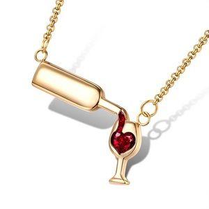 Jewelry - Dainty Gold Wine Necklace
